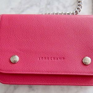 LONGCHAMP LE FOULANNE PINK LEATHER CHAIN BAG NWT